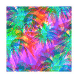 Tropical Pattern Depicting Pink and Purple Palm Trees with with Yellow Highlights Reflections on a