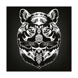 Animal Head Print for Adult Anti Stress Coloring Page Ethnic Patterned Ornate Hand Drawn Vector Il