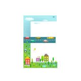 Flat Style Alphabet Letter E for Kids with Cars and City for Children Boys and Girls with City  Ho