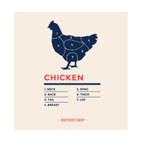 Chicken with Specified Type of Meat Meat Market Poster Butcher Diagram and Scheme Chicken Chicke