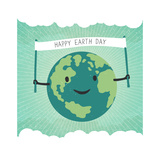 Cartoon Earth Illustration Planet Smile and Hold Banner with Happy Earth Day Words on Sunbeam Ray