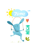 Rabbit Jumping Rope for Kids Hare Jumping High Skipping Animal Cartoon Watercolor Style  Vector Il