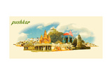 PUSHKAR City Panoramic Vector Water Color Illustration