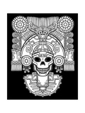Stylized Skull Pagan God of Death Motives of Art Native American Indian Vector Illustration: The