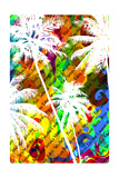 Multicolor Abstract Tropical Background with the Names of Tropical Resorts and White Silhouettes Of