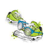 Hipster Sneakers with Glasses Vector Vector Illustration