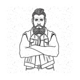 Young Man Bearded Biker Hand Drawing Vector Illustration Engraving Style Best for Tattoo Salon Pos