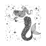 Beautiful Mermaid with Human Skull in Her Hands Hand Drawn Isolated Vector Illustration Sea  Fant