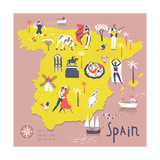 Cartoon Map of Spain with Legend Icons