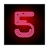 Realistic Red Neon Number Number with Neon Tube Light on Dark Background Vector Neon Typeface For
