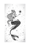 Beautiful Mermaid with Star in Her Hands Hand Drawn Illustration Sea  Fantasy  Spirituality  Mytho