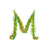 Letter M Flower Calligraphy Floral Elegant Decorative Alphabet Floral Colorful Calligraphy Design