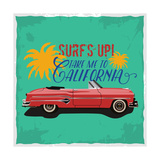 Hand Drawn Retro Car with a Text 'Take Me to California'  T-Shirt Design
