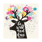 Be Wild and Free Incredible Deer Silhouette with Awesome Horns Made of Flowers  Swallow  Rabbit  C
