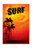 Grunge Surf Poster with Palms and Sunset