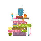 Tea Drinking Eating Pastry and Reading Books Cosy Illustration Books Reading and Sweets Colorful T