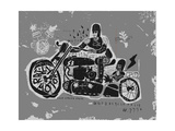 Symbolic Image of an Old Racing Motorcycle with Cradles