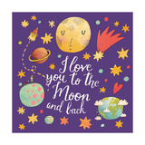 I Love You to the Moon and Back Awesome Romantic Card with Lovely Planets  Moon  Spaceship  Starts
