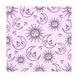 A Vintage Seamless Pattern that Consists of Pictures of the Sun  the Moon and Stars Can Be Used Fo