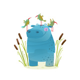 Wildlife Hippo with Cute Birds Smiling Kids Friends Happy Hippopotamus Watercolor Style Animal in