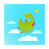 Dragon Flying in Sky Colorful Cartoon for Kids Dragon Flying Fun Cute Cartoon with Clouds and Sun