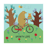Cute Illustrations of Bear Riding a Bike in Cartoon Style Sporty Life  Poster