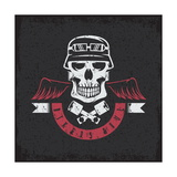 Biker Theme Grunge Label with Pistons  Wings and Skulls