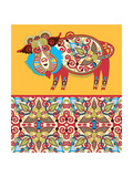 Unusual Ukrainian Traditional Tribal Art in Karakoko Style  Folk Ethnic Animal - Wild Boar with Sea
