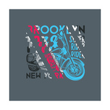Stylish Vector Illustration of Vintage New York Brooklyn Rider Motorcycle Club T-Shirts Graphic Mo