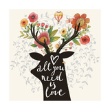 All You Need is Love Incredible Deer Silhouette with Awesome Flowers in Horns Lovely Spring Conce
