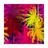 Tropical Seamless Pattern Depicting Pink and Purple Palm Trees with with Yellow Highlights Reflecti