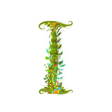 Alphabet Decorative Floral Letter I Flower Lettering