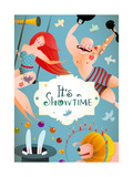 Circus Carnival Show Vintage Billboard Poster with Girl and Strong Man Fun and Cute Quirky Perform