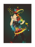 Girl Making Soap Bubbles Rainbow and Abstract Background