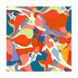 Abstract Illustration Fish Koi (Japanese  Chinese Carp) in Pond with Floral Colorful Algae (The Col