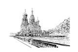 Russia Saint PetersburgSavior on Spilled Blood Hand Drawn Sketch City Vector Illustration