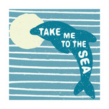Hand Drawn Vintage Poster with Dolphin Form Blue Dolphin with Text Take Me to the Sea on a Wave Ba