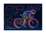 Professional Cyclist Involved in a Bike Race Vector Artwork in the Style of Paint Strokes
