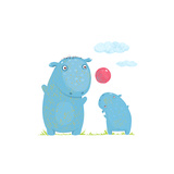 Hippopotamus Parent Playing Ball with a Child Mammal Parent Animal Cartoon Wildlife  Cheerful Hipp