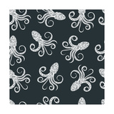 Vintage Seamless Pattern with Typography Monochrome Octopus Silhouette  and Hand Drawn Style Font