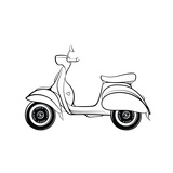 Retro Scooter Stylized in Doodle Style Hand Drawn Vector Illustration Isolated on White Background