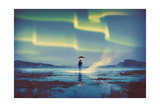 Northern Lights Aurora Borealis over Man Holding Glowing Umbrella Illustration Painting