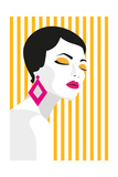 Fashion Girl Bold  Minimal Style Pop Art Opart  Positive Negative Space and Colour Trendy Strip