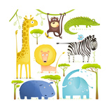 African Animals Fun Cartoon Clip Art Collection Brightly Colored Childish African Animals Set Vec