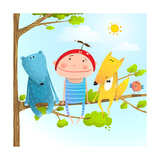 Child Animal Friends Childhood Sitting Tree Branch in Sky Baby Kid and Fox  Bear Funny Friendship