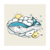 Romantic Whale Swimming in Clouds Retro Design Hand Drawn Textured Vintage Print Vector Illustrat