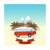 Retro Minivan with Palm Trees and Mountains on the Background Vintage Style Hippie Bus Vector Fla