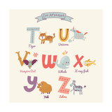Cute Zoo Alphabet in Vector T  U  V  W  X  Y  Z Letters Funny Cartoon Animals Tiger  Unicorn  Va