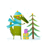 Crocodile Wearing Winter Warm Clothes Celebrating Holiday Seasonal Animal Cartoon for Children Gr