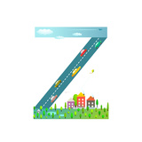 Kids Letter Z Sign Cartoon Alphabet with Cars and Houses for Children Boys and Girls with City  Ho